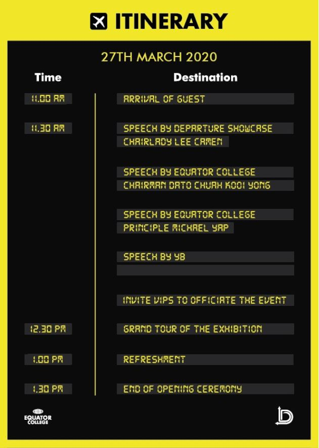 departure showcase itinerary